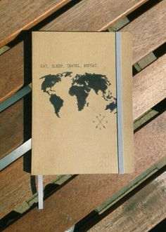 Travel - kraft agenda (HEMA) - back 2 school - world map - DIY