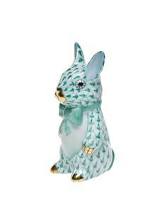 Herend Bunny with Bow Tie Figurine Hand Painted Porcelain in Green Fishnet w Gold Accents.