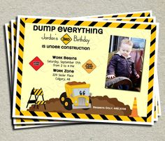 Construction Birthday Invitation - Foreveryourprints.