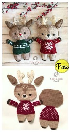 Crochet Amigurumi Patterns Adorable Holiday Deer Free Crochet Pattern - It's a time to create holiday home decor and unique gifts. You can get in the festive spirit with this Adorable Holiday Deer Free Crochet Pattern. Crochet Patterns Amigurumi, Crochet Dolls, Crochet Yarn, Crochet Deer, Knitting Patterns, Christmas Crochet Patterns, Crochet Christmas Ornaments, Christmas Knitting, Kawaii Crochet