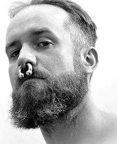 Septum Piercing Men, Mens Piercings, Septum Ring, Nose Ring Men, Beard Images, Face Tattoos, Body Modifications, Beard Styles, Sexy Men