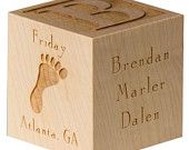 Personalized Baby Block Engraved Wooden Baby Blocks Baby's First Alphabet Block Personalized Baby Gift Twins Newborn Gift New Baby Block. $24.00, via Etsy.