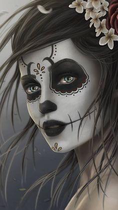 gothic skull candy wallpaper by - 21 - Free on ZEDGE™ Sugar Skull Mädchen, Sugar Skull Artwork, Sugar Skull Makeup, Sugar Skull Wallpaper, Gothic Wallpaper, Eyes Wallpaper, White Wallpaper, Day Of The Dead Artwork, Dark Gothic Art
