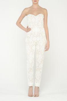 """Monique Lhuillier / """"Carter"""" Strapless guipure lace jumpsuit. Add a gold metal belt, perfection"""