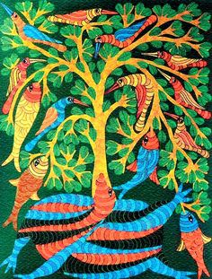 The #Gond and #Baiga tribes in Central #India's forests are known for #art inspired by their environments, with highly stylized, detailed lines and vibrant colours!