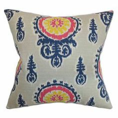 """Down pillow with an ikat motif. Made in the USA.   Product: PillowConstruction Material: Cotton cover and feather down fillColor: Blue, yellow, pink and grayFeatures:  Hidden zipper closureMade in the USAInsert included Dimensions: 18"""" x 18"""""""