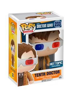Tenth Doctor (3D glasses) is given a fun, and funky, stylized look as an adorable collectible vinyl figure!Hot Topic exclusive!