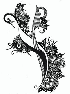 Holly A. Art, Black ink drawing with flowers.