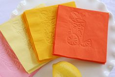 Beverage Napkins ~ Fiskars ... Class up inexpensive beverage napkins with Fuse. Run several napkins through the Fuse at the same time without ink. Tip: Add a sheet of printer paper between the napkin and cutting mat for a clean release and impression.