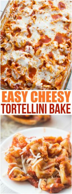 Easy Cheesy Tortellini Pasta Bake Recipe - Family Fresh Meals - Family Fresh Meals Family Favorite View the full recipe in the original website: familyfr. Baked Pasta Recipes, Chicken Recipes, Easy Tortellini Recipes, Tortellini Ideas, Pasta Casserole, Casserole Recipes, Easy Cooking, Cooking Recipes, Cooking 101