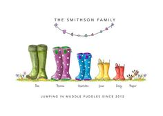 "- - - "" A - The Original Welly Boot family print Family Drawing, Family Painting, Cow Painting, Family Illustration, Portrait Illustration, Cute Illustration, Personalised Family Print, Wellies Boots, Rainbow Crafts"