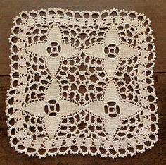 Beige crochet square doily