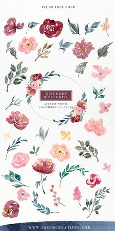 Burgundy Blush Navy Watercolor Flowers Clipart Set features separate florals branches leaves stalks berries & buds which are perfect for making your own. Watercolor Leaves, Watercolor Wedding, Abstract Watercolor, Watercolor Illustration, Watercolor Paintings, Watercolor Landscape, Watercolor Portraits, Watercolor Techniques, Watercolor Background