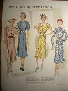 This is an original page which was carefully removed from a 1937 McCalls magazine. The fashions were absolutely gorgeous. Both sides of the page are nice. It would be difficult to choose which side to frame! It measures 10 1/2 x 13 3/4. Great vintage condition-Nice clean pages with minimal wear. Thank you for visiting PapersAndMore