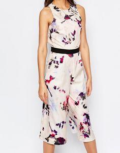 Little Mistress Tall   Little Mistress Tall Floral Printed Culotte Jumpsuit at ASOS