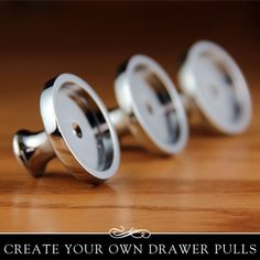 Home decorating has never been so easy! These drawer pulls or drawer knobs are a perfect pairing with my 1 Glamour FX flat glass. Measurements: 33mm outer diameter 26mm inner diameter 22mm from base to face Kit includes: - 5 Drawer Pull - 5 Glamour FX flat glass tile insert. - 10 screws