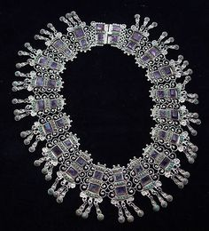 Vintage Mexican necklace with amethyst and turquoise._____vaj