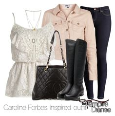 """Caroline Forbes inspired outfit/The Vampire Diaries"" by tvdsarahmichele ❤ liked on Polyvore featuring Joules, ONLY, Chanel and Rupert Sanderson"