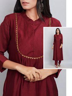Maroon Embroidered Chanderi Silk Kurta with Modal Cotton Pants Set of 2 Silk Kurti Designs, Kurta Designs Women, Kurti Designs Party Wear, Sleeves Designs For Dresses, Dress Neck Designs, Neck Designs For Suits, Pakistani Dresses Casual, Pakistani Dress Design, Pakistani Fashion Casual