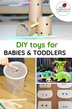 How to make easy DIY toys for babies and toddlers! - - This collection of easy DIY toys for babies and toddlers will have you inspired as a parent or early years educator to save money & make your own! Toddler Age, Toddler Preschool, Diy Learning Toys For Toddlers, Diy Educational Toys For Babies, Toddler Crafts, Parenting Toddlers, Kids Crafts, Theme Baskets, Tinker Toys