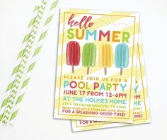 Summer Party Invitation - Popsicle Invitation - Pool Party Invitation - Printable Invitation - Pool Party Birthday - Hello Summer - Yellow