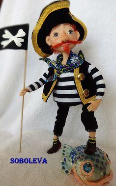 пират кукла Pirate doll polymer clay handmade