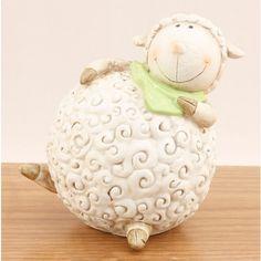 Shaun the sheep : ) Pottery Animals, Ceramic Animals, Clay Animals, Shaun The Sheep, Sheep And Lamb, Kids Clay, Cute Sheep, Sculptures Céramiques, Money Bank