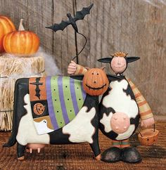 Child and Cow Dressed up for Halloween Figurine - Halloween Folk Art & Collectibles – Williraye Studio $32.00