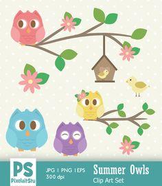 Summer Owls Vector Clip Art Graphics Set, Owls, Summer Owls, Commercial Use… Owl Vector, Owls, Commercial, Clip Art, Graphics, Digital, Summer, Summer Time, Graphic Design
