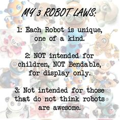 Know the rules before adopting a robot | Handmade by HerArtSheLoves of Robots Are Awesome http://theawesomerobots.com
