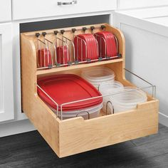Food Pull Out Drawer restore some sanity with this unique storage solution. The food storage container is made with a sturdy dovetail construction, stylish chrome accent rails and blur motion soft-close slides. Take back your cabinet space, Diy Kitchen Storage, Kitchen Cabinet Organization, Kitchen Drawers, Home Organization, Cabinet Organizers, Food Storage Rooms, Storage Cabinets, New Kitchen, Kitchen Dining