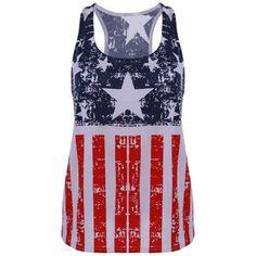 Fashionable Scoop Neck Sleeveless American Flag Print Tank Top