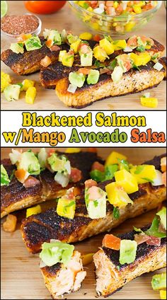 The fresh sweet & spicy salsa is perfect over the blackened spicy salmon, making Blackened Salmon w/Mango Avocado Salsa a perfect meal for family or guests. Fish Recipes, Seafood Recipes, Dinner Recipes, Healthy Recipes, Dinner Ideas, Delicious Recipes, Seafood Meals, Mango Recipes, Tasty