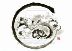 Aikido enso circle martial arts sumi-e original in by MariuszSzmerdt.deviantart.com on @deviantART