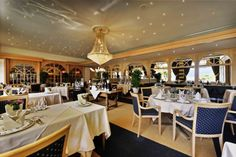 """À la carte restaurant """"Le BelAir"""" at the Beatus Luxury Accommodation, Restaurants, Table Settings, Hotels, Table Decorations, Room, Furniture, Beautiful, Home Decor"""