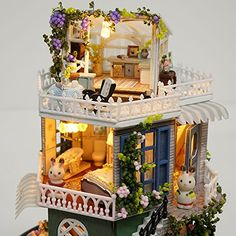 Dollhouse Miniature DIY Kit With Cover Wood Toy Doll House Cottage W/ LED Lights for sale online Miniture Dollhouse, Dollhouse Kits, Wooden Dollhouse, Miniature Dolls, Dollhouse Miniatures, Wooden Dolls House Furniture, Furniture Box, Dollhouse Furniture, Christmas Lodge