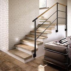 Tile flooring takes a stand in high traffic areas Stairs Makeover areas FLOORING High Stand takes Tile traffic Tile Stairs, Wood Stairs, House Stairs, Basement Stairs, Stair Handrail, Staircase Railings, Bannister, Railing Design, Staircase Design