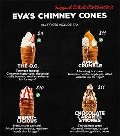 Eva's Original Chimneys Menu Ice Cream Bread, Cream Cake, Kurtos Kalacs, Bread Cones, Food Truck Menu, Donut Flavors, Chimney Cake, Sugar Cones, Menu Printing