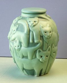 Cat Sculptures and Urn by Venice Clay