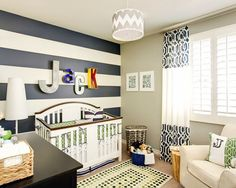 Like navy and white stripe wall with grey on other walls for boys room just like this