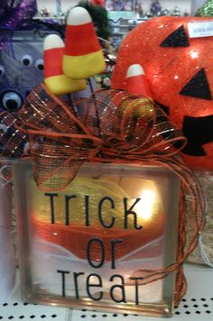 Candy Corn Glass Block designed by A. Painted Glass Blocks, Decorative Glass Blocks, Lighted Glass Blocks, Halloween Signs, Halloween Crafts, Halloween Decorations, Halloween Candy, Happy Halloween, Autumn Crafts