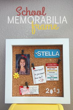 We are memory keepers in our house and it's always extra fun when you can display those memories all year long. With the help of Michaels… we had fun putting together a School Memorabilia Frame. Supplies: (all found at Michaels) • 12″ x 12″ Shadow Box • 12″ x 12″ Natural Cork Tiles • white spray …