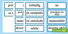 Stage 3 Procedure Language to Indicate Time Sequence Word Cards