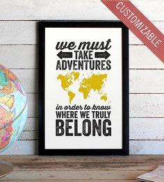 World Adventure Typographic Map Print  by The Oyster's Pearl on Scoutmob Shoppe/ love this for over Ts side of the bed