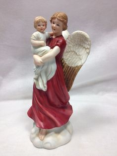 Vintage porcelain Angel holding Child Figurine Home Interior Homco