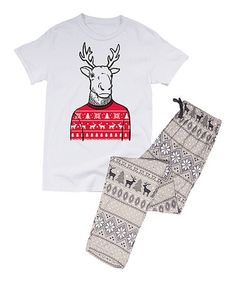 This White & Gray Fair Isle Reindeer Sweater Pajama Set - Men is perfect…