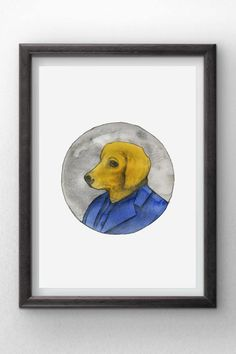 Golden Retriever Puppy in a Suit  Watercolor painting  by Penfood