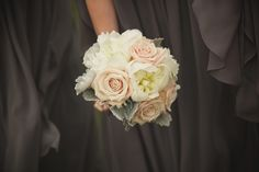 Grey bridesmaids dresses pastel bouquet - Joshua Brown Photography