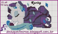 MLP Rarity pattern by Dinha Ponto Cruz Cross Stitch Horse, Beaded Cross Stitch, Cross Stitch Charts, Cross Stitch Embroidery, Cross Stitch Patterns, Rarity My Little Pony, My Little Pony Unicorn, Stitch Character, Kid Character