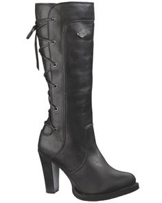 Harley-Davidson Womens Calico Back-Lace High Cut Black Leather Riding Boots